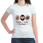 Pink Brown Peace Love Football Jr. Ringer T-Shirt