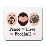 Pink Brown Peace Love Football Mousepad