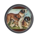 Antique St Bernard Rough Dog Wall Clock