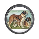 Antique St Bernard Rough Dog Portrait Wall Clock
