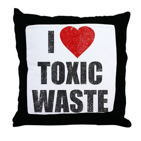 I Love [Heart] Toxic Waste Throw Pillow