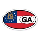 Georgia State Flag Oval Decal