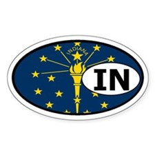 Indiana State Flag Oval Decal
