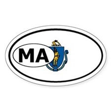 Massachusetts State Flag Oval Decal