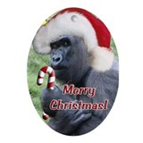 Helaine's Christmas Gorilla 2 Ornament (Oval)