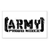 Proud Army Niece - Tatterd Style Sticker (Rectangu