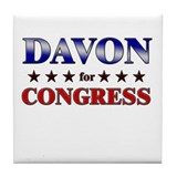 DAVON for congress Tile Coaster