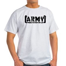 Proud Army Fthr-in-Law - Tatterd Style T-Shirt