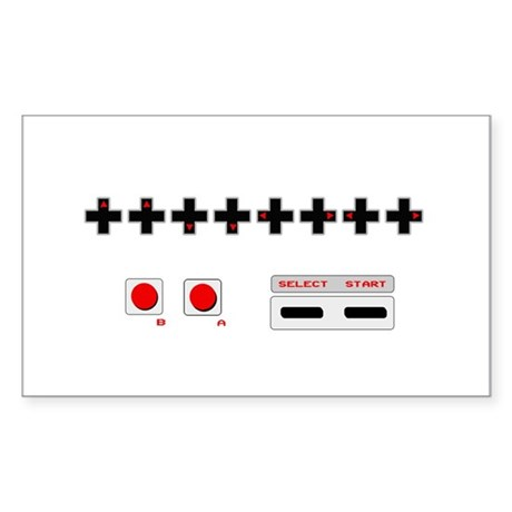 Old School NES Contra Code Rectangle Sticker