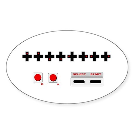 Old School NES Contra Code Oval Sticker