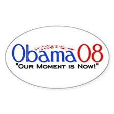 """""""Obama Now"""" Oval Decal"""