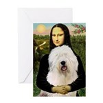 Mona's Old English Sheepdog Greeting Card