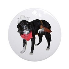 Cowboy Border Collie Ornament (Round)