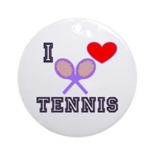 I Love Tennis Purple Ornament (Round)