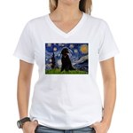 Starry / Std Poodle(bl) Women's V-Neck T-Shirt