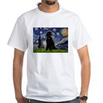 Starry / Std Poodle(bl) White T-Shirt