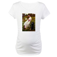 Windflowers / Poodle (BLk-ST) Maternity T-Shirt