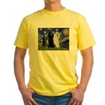 Starry Night / 2 Poodles(b&w) Yellow T-Shirt