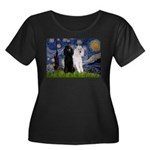 Starry Night / 2 Poodles(b&w) Women's Plus Size Sc