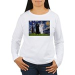 Starry Night / 2 Poodles(b&w) Women's Long Sleeve