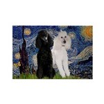 Starry Night / 2 Poodles(b&w) Rectangle Magnet (10