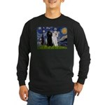 Starry Night / 2 Poodles(b&w) Long Sleeve Dark T-S