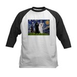 Starry Night / 2 Poodles(b&w) Kids Baseball Jersey