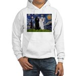 Starry Night / 2 Poodles(b&w) Hooded Sweatshirt