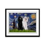 Starry Night / 2 Poodles(b&w) Framed Panel Print