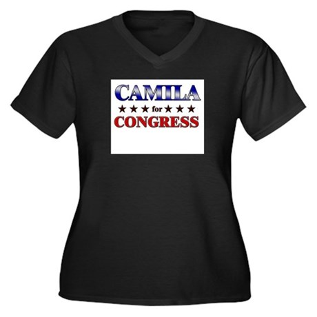 CAMILA for congress Women's Plus Size V-Neck Dark