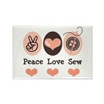 Peace Love Sew Sewing Rectangle Magnet (10 pack)
