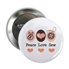 """Peace Love Sew Sewing 2.25"""" Button (10 pack)"""