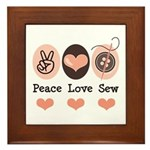 Peace Love Sew Sewing Framed Tile