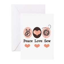 Peace Love Sew Sewing Greeting Cards (Pk of 10)