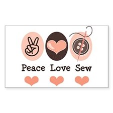 Peace Love Sew Sewing Rectangle Bumper Stickers