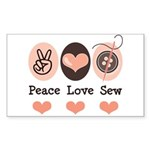 Peace Love Sew Sewing Rectangle Sticker