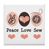 Peace Love Sew Sewing Tile Coaster