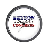 BRYSON for congress Wall Clock