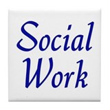 Social Work (blue) Tile Coaster