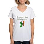 Gaelic & Map of Ireland Women's V-Neck T-Shirt