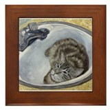 Bertie's Boudoir Sink Cat Framed Tile