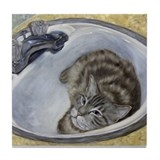 Bertie's Boudoir Sink Cat Tile Coaster