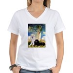 Umbrella / 2 Poodles(b & w) Women's V-Neck T-Shirt