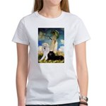 Umbrella / 2 Poodles(b & w) Women's T-Shirt