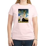 Umbrella / 2 Poodles(b & w) Women's Light T-Shirt