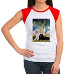 Umbrella / 2 Poodles(b & w) Women's Cap Sleeve T-S