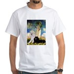 Umbrella / 2 Poodles(b & w) White T-Shirt