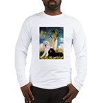 Umbrella / 2 Poodles(b & w) Long Sleeve T-Shirt