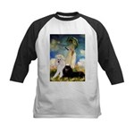 Umbrella / 2 Poodles(b & w) Kids Baseball Jersey