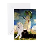 Umbrella / 2 Poodles(b & w) Greeting Cards (Pk of